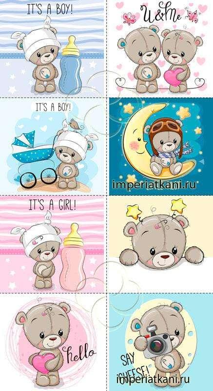 03 Мишки серые панели детские сатин