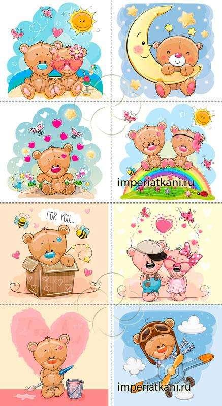04 Мишки бежевые панели детские сатин