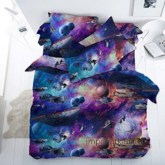 Детская ткань из поплина «Космос темный»