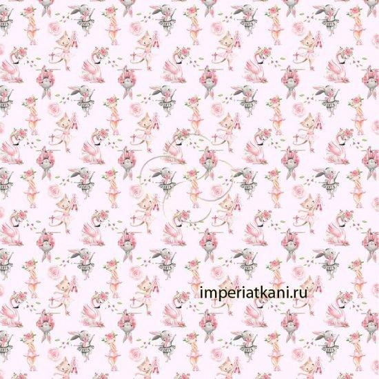 Детская ткань из поплина «Балеринки» зайчата и котята