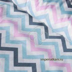 Ткань поплин «Зигзаги трехцветные»