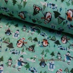 Детская ткань из поплина «Пингвины»