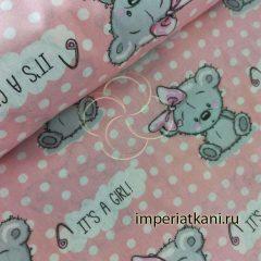 Детская ткань из поплина «Мишка с бантом»