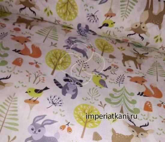 1926-1 ткань детская лесные обитатели
