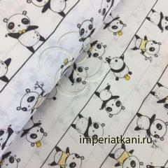 Детская ткань из поплина «Панды»