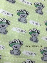 Детская ткань из поплина «Мишка в кепке ТИ»
