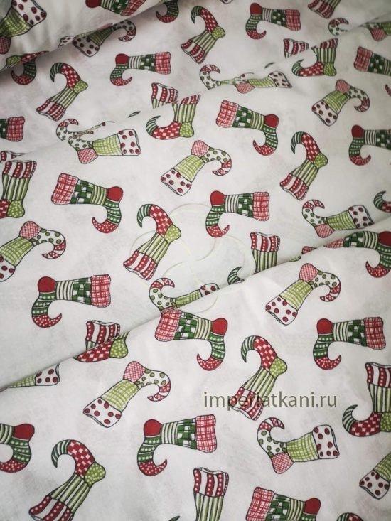 Детская ткань из поплина «Новогодние носочки»