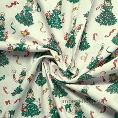 Детская ткань из поплина «Девочки елочки»