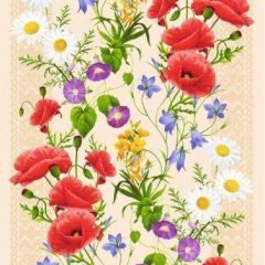 Вафельная ткань «Полевые цветы»