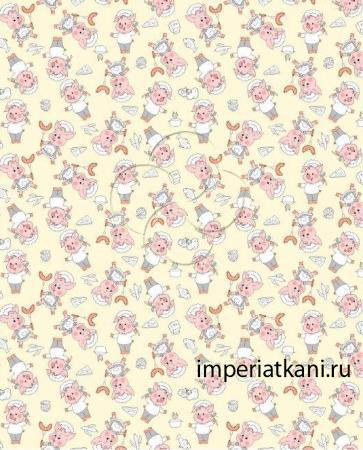 Вафельная ткань «Поросенок-поваренок»