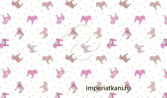 7272-2 Поняшки розовый бязь детская узбекистан