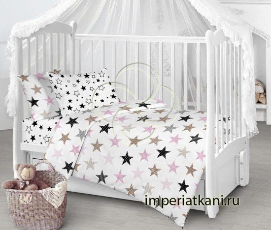 8104-1 Звезды печворк розовый бязь детская узбекистан