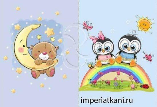 П8 «Мишка и Пингвины» 150-210 панели детские сатин