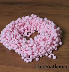 тесьма с помпонами розовая